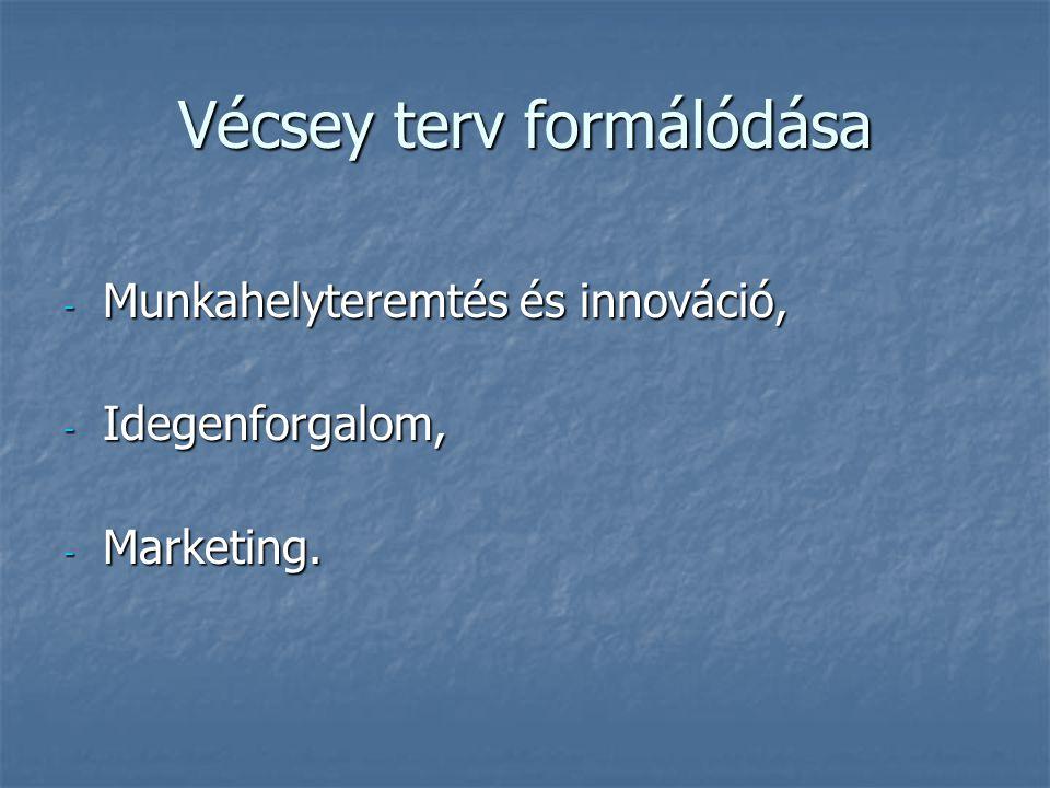 Vécsey terv formálódása - Munkahelyteremtés és innováció, - Idegenforgalom, - Marketing.