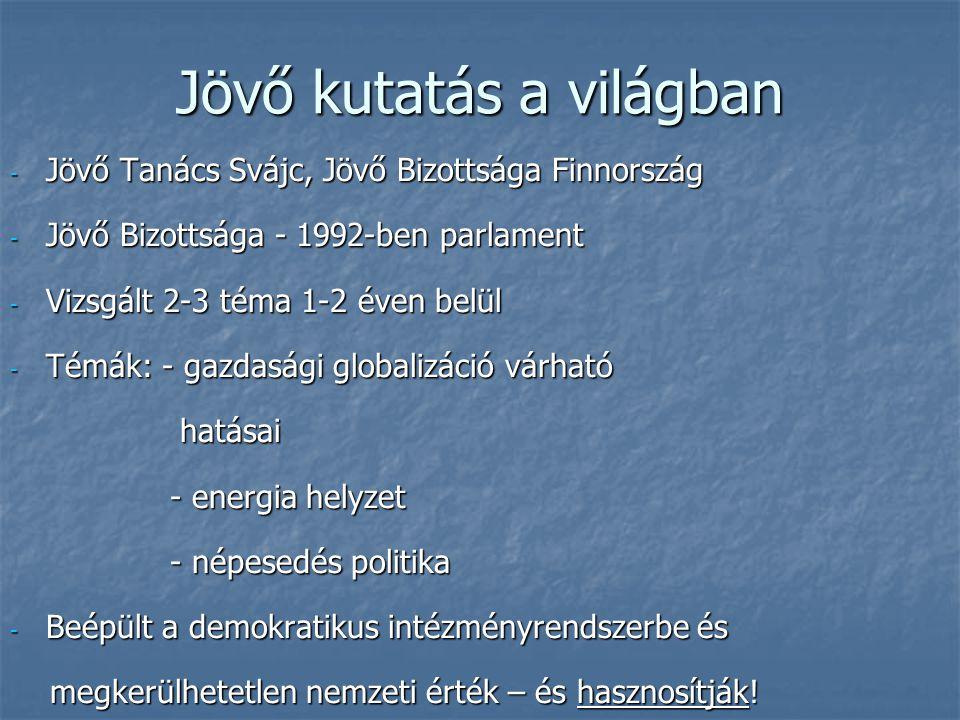 Jövő kutatás a világban - Jövő Tanács Svájc, Jövő Bizottsága Finnország - Jövő Bizottsága - 1992-ben parlament - Vizsgált 2-3 téma 1-2 éven belül - Té