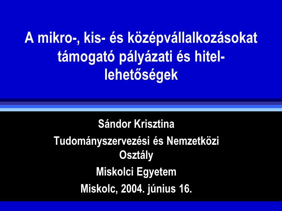 Hasznos címek Nemzeti Fejlesztési Hivatal www.nfh.hu (NFT, OP, OP-Pkd) Foglalkoztatásügyi és Munkaügyi Minisztérium www.fmm.gov.hu(HEFOP, egyéb HR pályáztok) Magyar Vállalkozásfejlesztési Kht., www.mvf.hu (Pályázati lehetőségek, GVOP pályázatok lebonyolítója) Nemzeti Kutatási és Technológiai Hivatal www.nkth.gov.hu ( kutatási pályázatok)