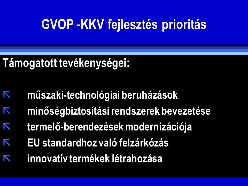 GVOP -KKV fejlesztés prioritás Támogatott tevékenységei: ã műszaki-technológiai beruházások ã minőségbiztosítási rendszerek bevezetése ã termelő-beren