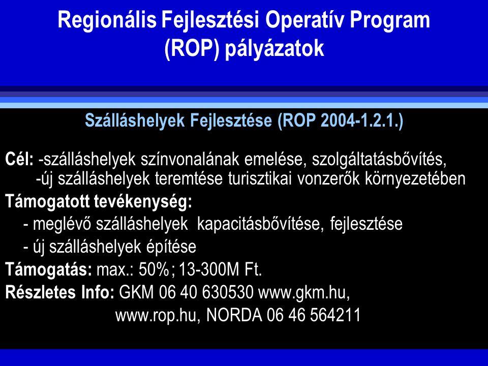 Regionális Fejlesztési Operatív Program (ROP) pályázatok Szálláshelyek Fejlesztése (ROP 2004-1.2.1.) Cél: -szálláshelyek színvonalának emelése, szolgá