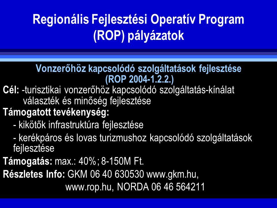 Regionális Fejlesztési Operatív Program (ROP) pályázatok Vonzerőhöz kapcsolódó szolgáltatások fejlesztése (ROP 2004-1.2.2.) Cél: -turisztikai vonzerőh