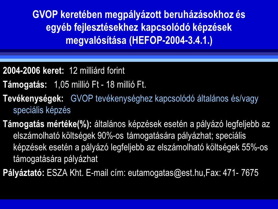 GVOP keretében megpályázott beruházásokhoz és egyéb fejlesztésekhez kapcsolódó képzések megvalósítása (HEFOP-2004-3.4.1.) 2004-2006 keret: 12 milliárd