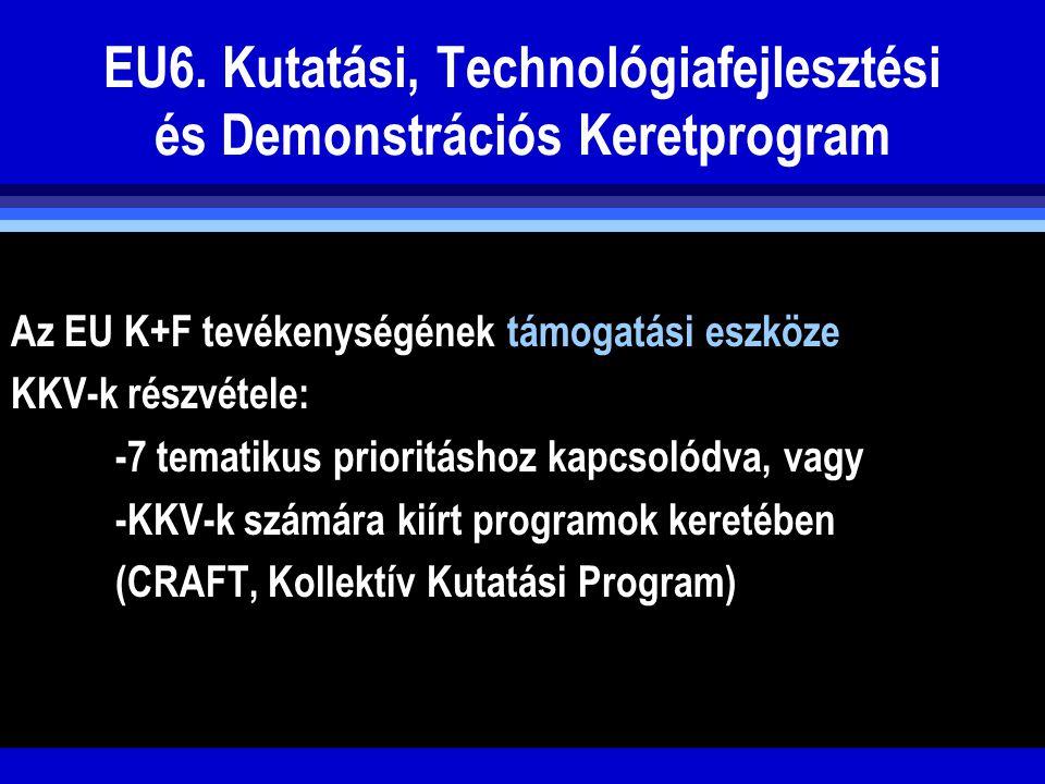 EU6. Kutatási, Technológiafejlesztési és Demonstrációs Keretprogram Az EU K+F tevékenységének támogatási eszköze KKV-k részvétele: -7 tematikus priori