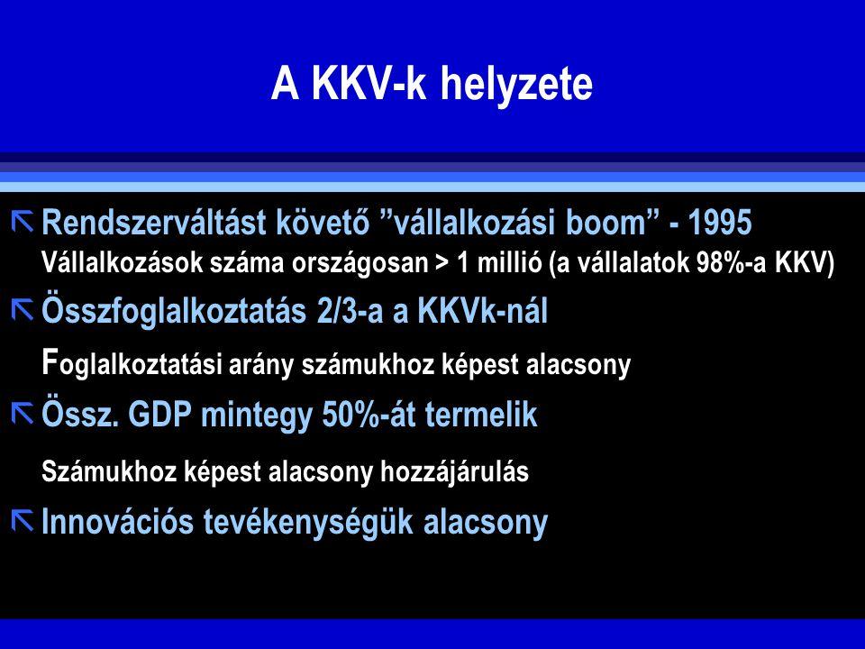 """A KKV-k helyzete ã Rendszerváltást követő """"vállalkozási boom"""" - 1995 Vállalkozások száma országosan > 1 millió (a vállalatok 98%-a KKV) ã Összfoglalko"""