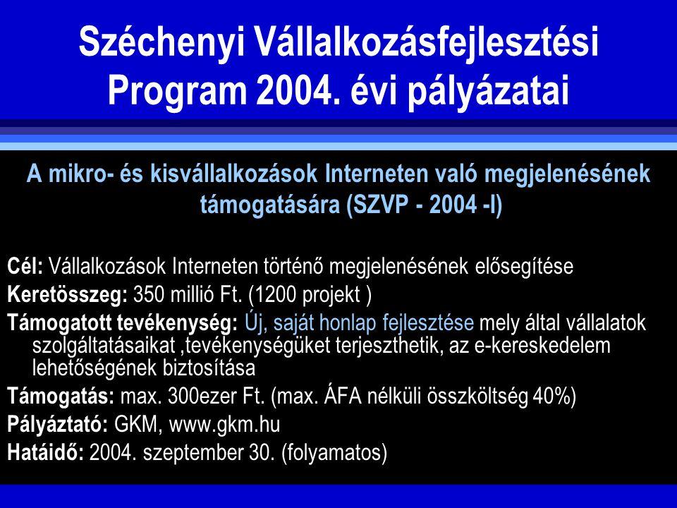 Széchenyi Vállalkozásfejlesztési Program 2004. évi pályázatai A mikro- és kisvállalkozások Interneten való megjelenésének támogatására (SZVP - 2004 -I