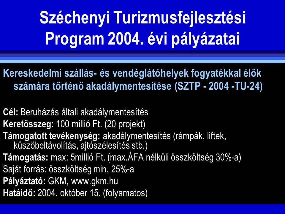Széchenyi Turizmusfejlesztési Program 2004. évi pályázatai Kereskedelmi szállás- és vendéglátóhelyek fogyatékkal élők számára történő akadálymentesíté