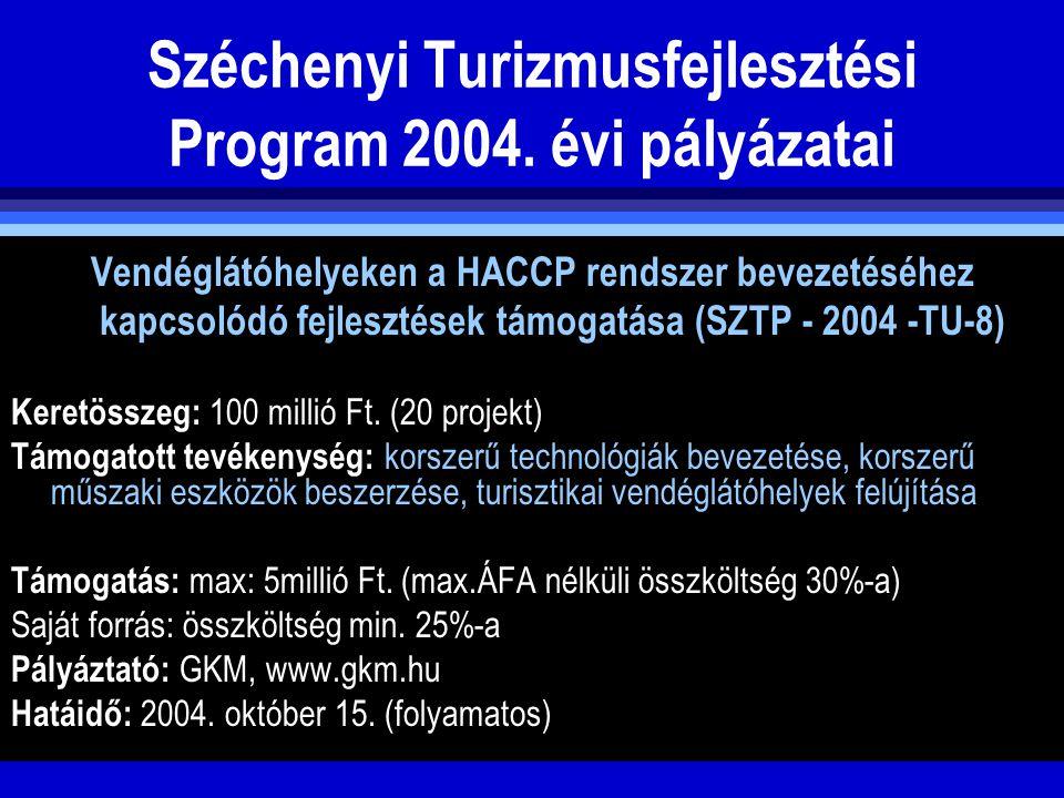 Széchenyi Turizmusfejlesztési Program 2004. évi pályázatai Vendéglátóhelyeken a HACCP rendszer bevezetéséhez kapcsolódó fejlesztések támogatása (SZTP