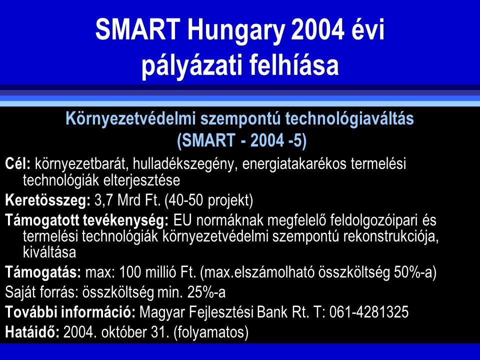 SMART Hungary 2004 évi pályázati felhíása Környezetvédelmi szempontú technológiaváltás (SMART - 2004 -5) Cél: környezetbarát, hulladékszegény, energia