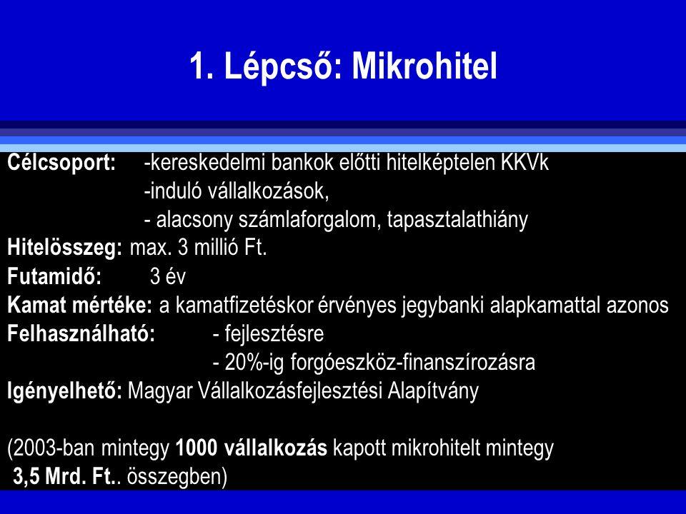 1. Lépcső: Mikrohitel Célcsoport: -kereskedelmi bankok előtti hitelképtelen KKVk -induló vállalkozások, - alacsony számlaforgalom, tapasztalathiány Hi