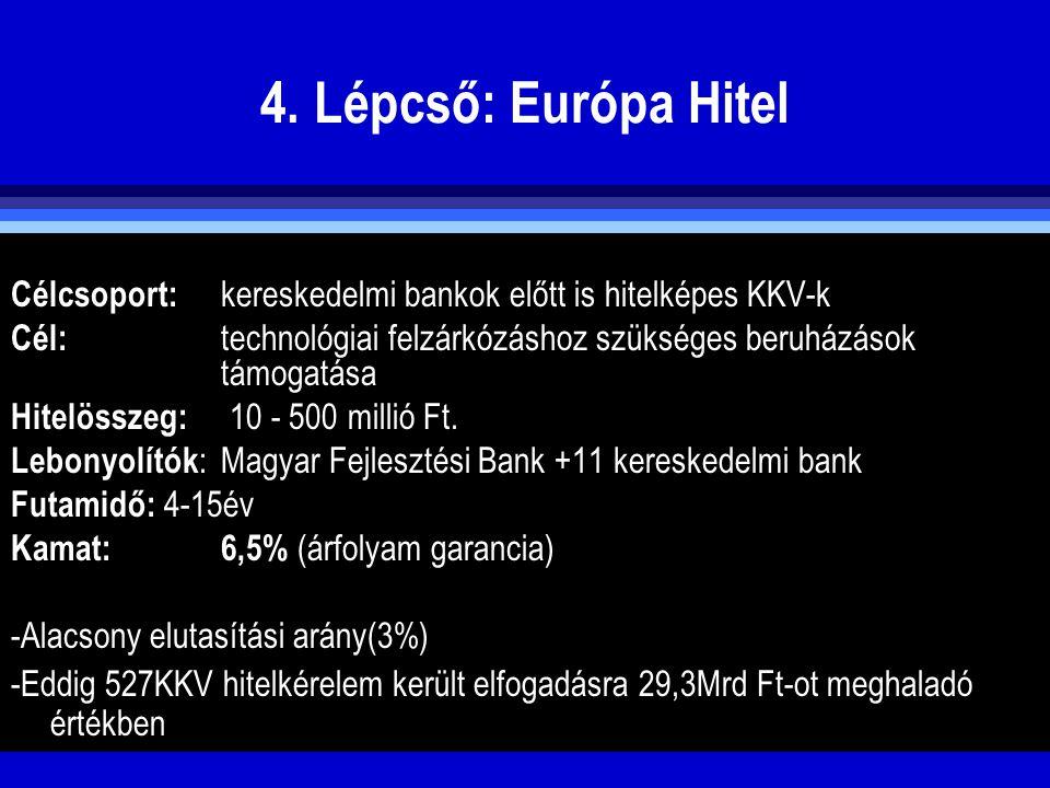 4. Lépcső: Európa Hitel Célcsoport: kereskedelmi bankok előtt is hitelképes KKV-k Cél: technológiai felzárkózáshoz szükséges beruházások támogatása Hi
