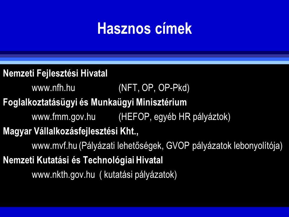 Hasznos címek Nemzeti Fejlesztési Hivatal www.nfh.hu (NFT, OP, OP-Pkd) Foglalkoztatásügyi és Munkaügyi Minisztérium www.fmm.gov.hu(HEFOP, egyéb HR pál