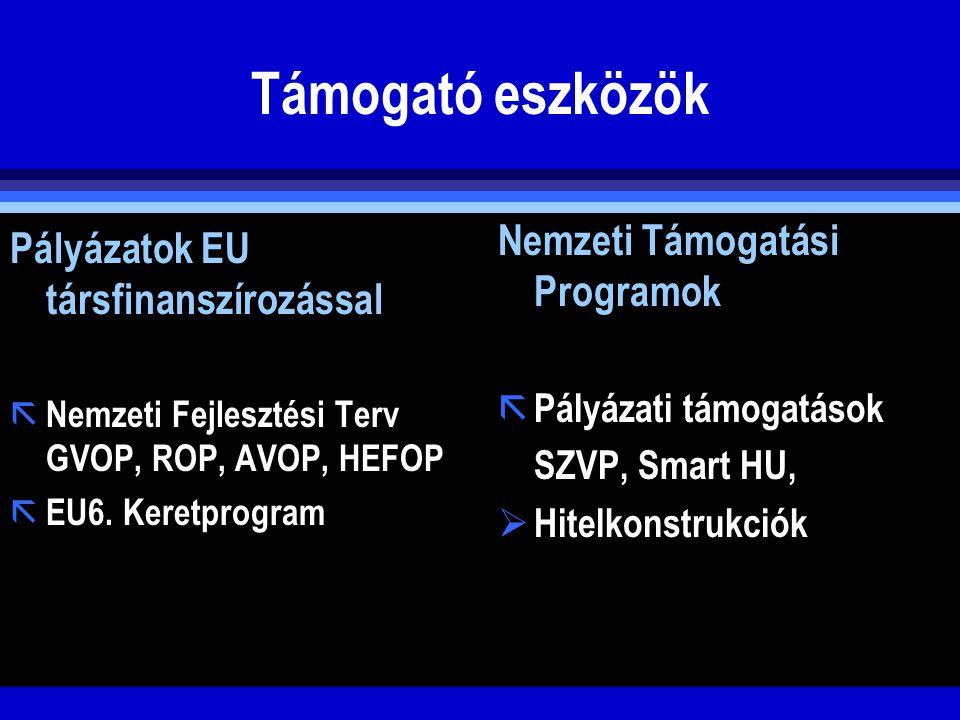 Támogató eszközök Pályázatok EU társfinanszírozással ã Nemzeti Fejlesztési Terv GVOP, ROP, AVOP, HEFOP ã EU6. Keretprogram Nemzeti Támogatási Programo