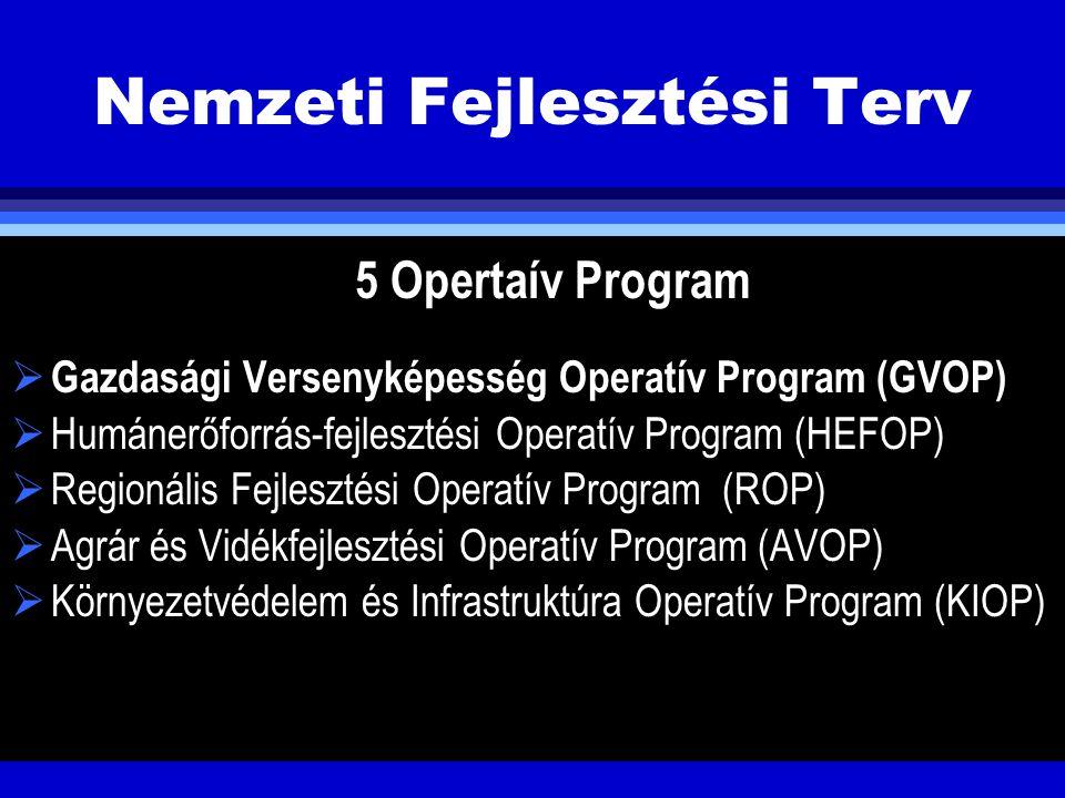 Nemzeti Fejlesztési Terv 5 Opertaív Program  Gazdasági Versenyképesség Operatív Program (GVOP)  Humánerőforrás-fejlesztési Operatív Program (HEFOP)