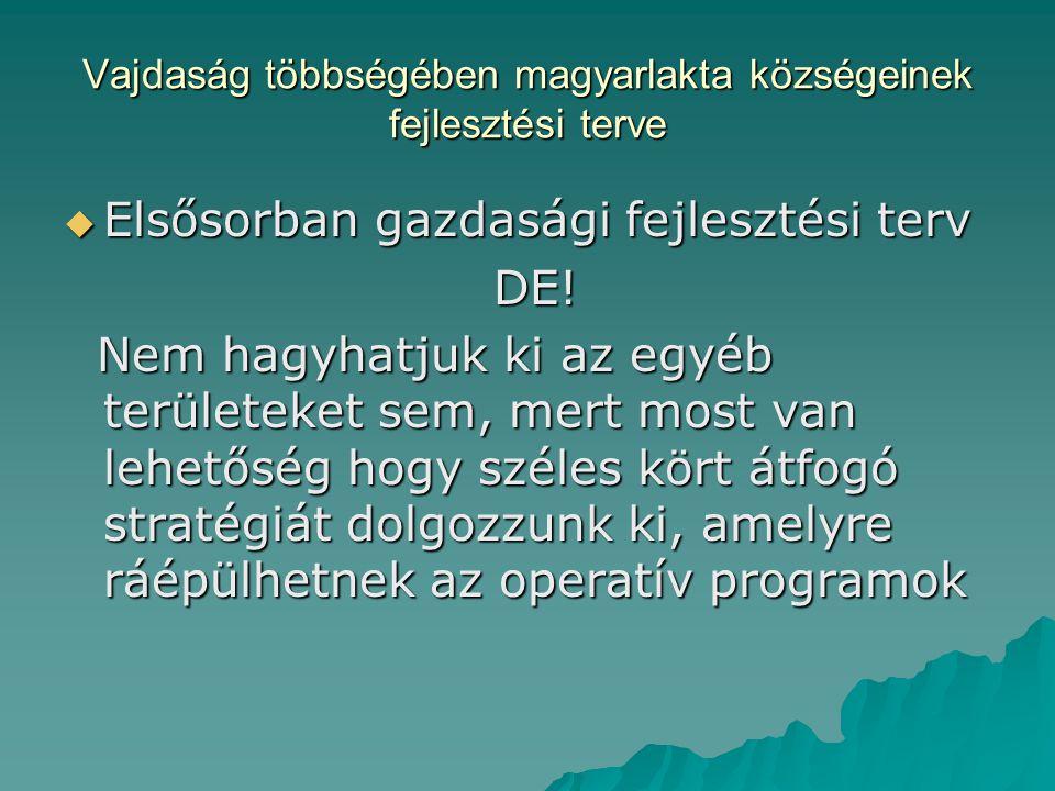 Vajdaság többségében magyarlakta községeinek fejlesztési terve  Elsősorban gazdasági fejlesztési terv DE.
