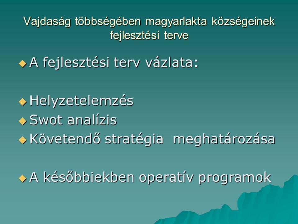 Vajdaság többségében magyarlakta községeinek fejlesztési terve  A fejlesztési terv vázlata:  Helyzetelemzés  Swot analízis  Követendő stratégia meghatározása  A későbbiekben operatív programok