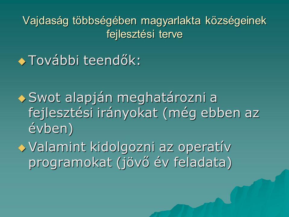 Vajdaság többségében magyarlakta községeinek fejlesztési terve  További teendők:  Swot alapján meghatározni a fejlesztési irányokat (még ebben az évben)  Valamint kidolgozni az operatív programokat (jövő év feladata)