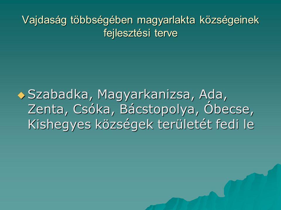 Vajdaság többségében magyarlakta községeinek fejlesztési terve  Szabadka, Magyarkanizsa, Ada, Zenta, Csóka, Bácstopolya, Óbecse, Kishegyes községek területét fedi le