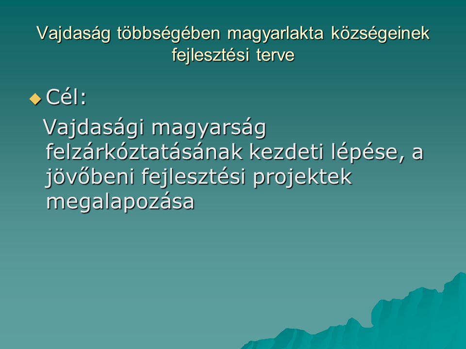 Vajdaság többségében magyarlakta községeinek fejlesztési terve  Cél: Vajdasági magyarság felzárkóztatásának kezdeti lépése, a jövőbeni fejlesztési projektek megalapozása Vajdasági magyarság felzárkóztatásának kezdeti lépése, a jövőbeni fejlesztési projektek megalapozása