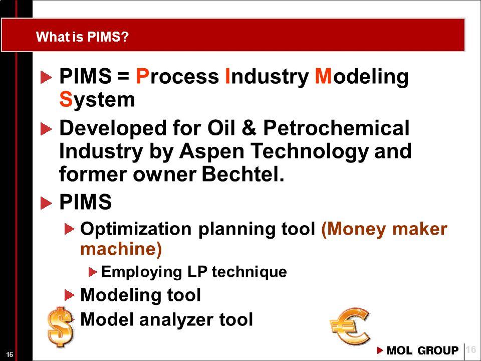 15 Agenda A valóság és modellje Kapcsolat a terv és a valóság között A lineáris programozás alapjai Az olajipari optimalizálás eszköze: PIMS program A PIMS feladata, működése Terv típusok A PIMS felépítése, modelltípusok (PPIMS -> XPIMS) XPIMS vs.