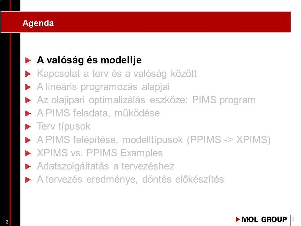 1 Az olajipari optimalizálás eszköze (PIMS program) Mészöly Csaba Pannon Egyetem 2007 I. félév