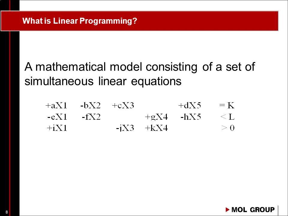 7 Agenda A valóság és modellje Kapcsolat a terv és a valóság között A lineáris programozás alapjai Az olajipari optimalizálás eszköze: PIMS program A PIMS feladata, működése Terv típusok A PIMS felépítése, modelltípusok (PPIMS -> XPIMS) XPIMS vs.