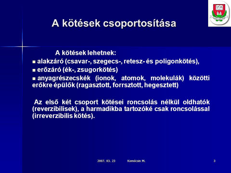 2007.03. 23 Komócsin M. 24 Az élelőkészítés ill.