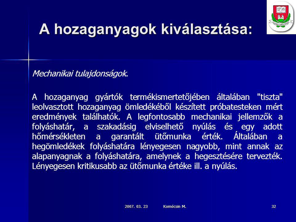 2007.03. 23 Komócsin M. 32 A hozaganyagok kiválasztása: Mechanikai tulajdonságok.