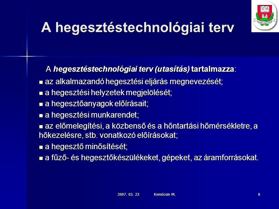 2007.03. 23 Komócsin M. 19 A hegesztési technológia kidolgozásának lépései: 11.