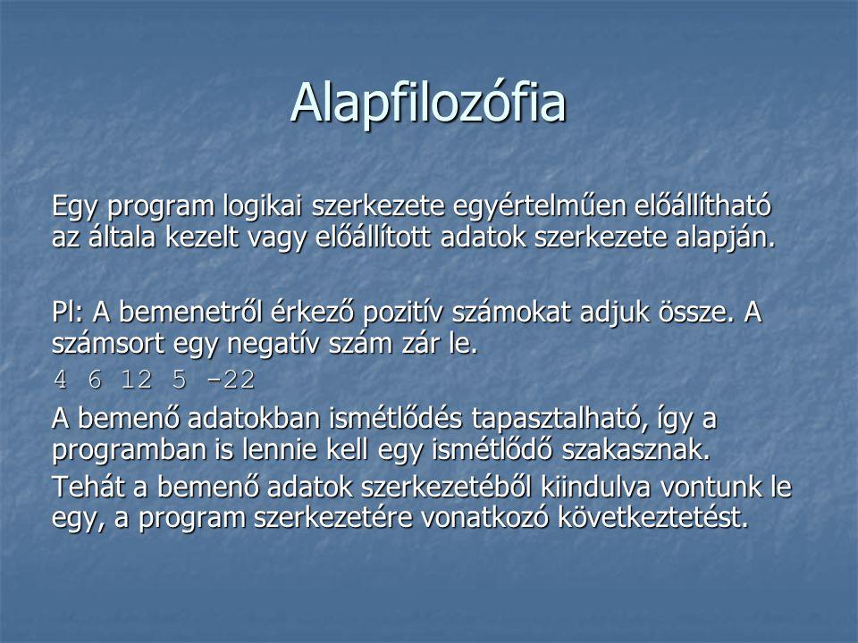Alapfilozófia Egy program logikai szerkezete egyértelműen előállítható az általa kezelt vagy előállított adatok szerkezete alapján.