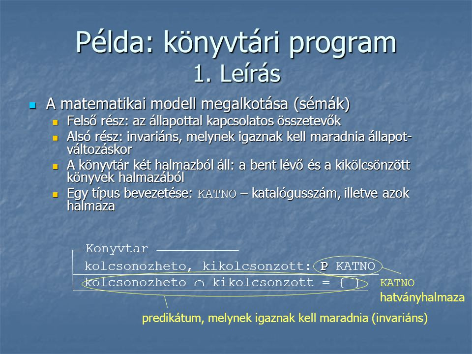 Példa: könyvtári program 1.