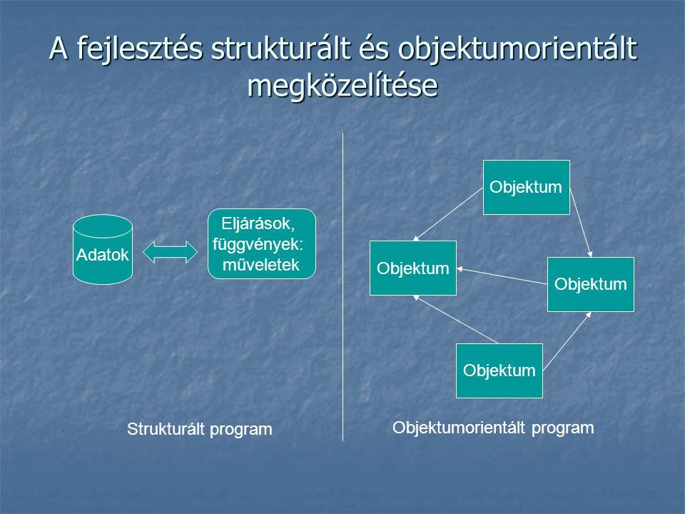 A fejlesztés strukturált és objektumorientált megközelítése Adatok Eljárások, függvények: műveletek Objektum Strukturált program Objektumorientált program