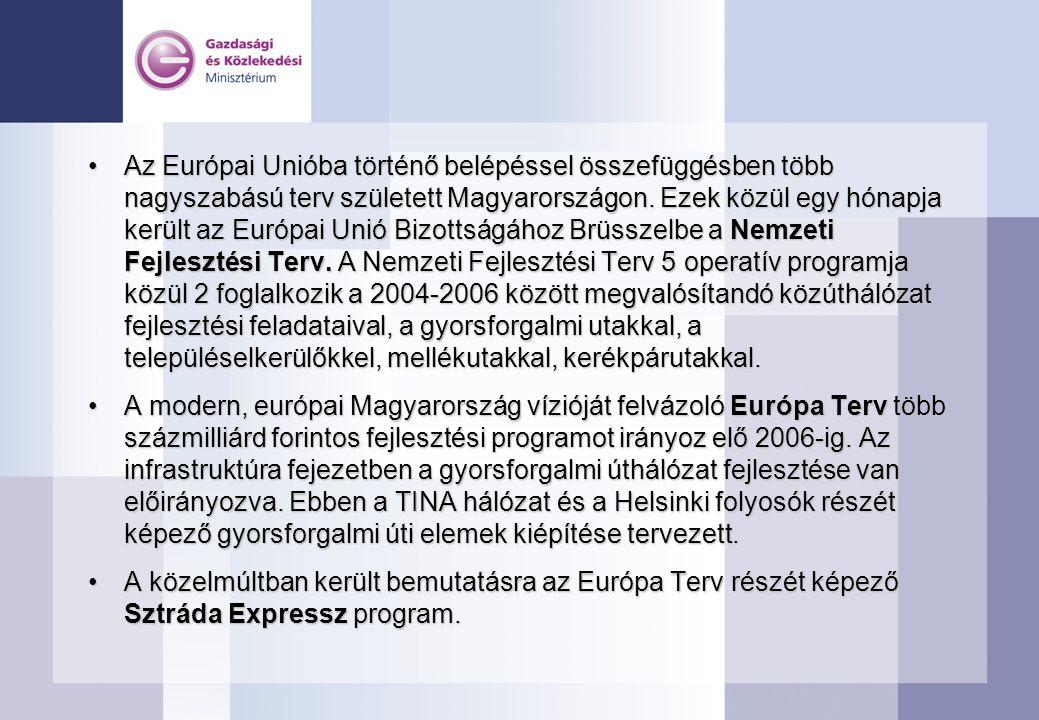 •Az Európai Unióba történő belépéssel összefüggésben több nagyszabású terv született Magyarországon.