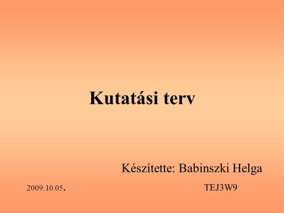 Kutatási terv Készítette: Babinszki Helga 2009.10.05. TEJ3W9
