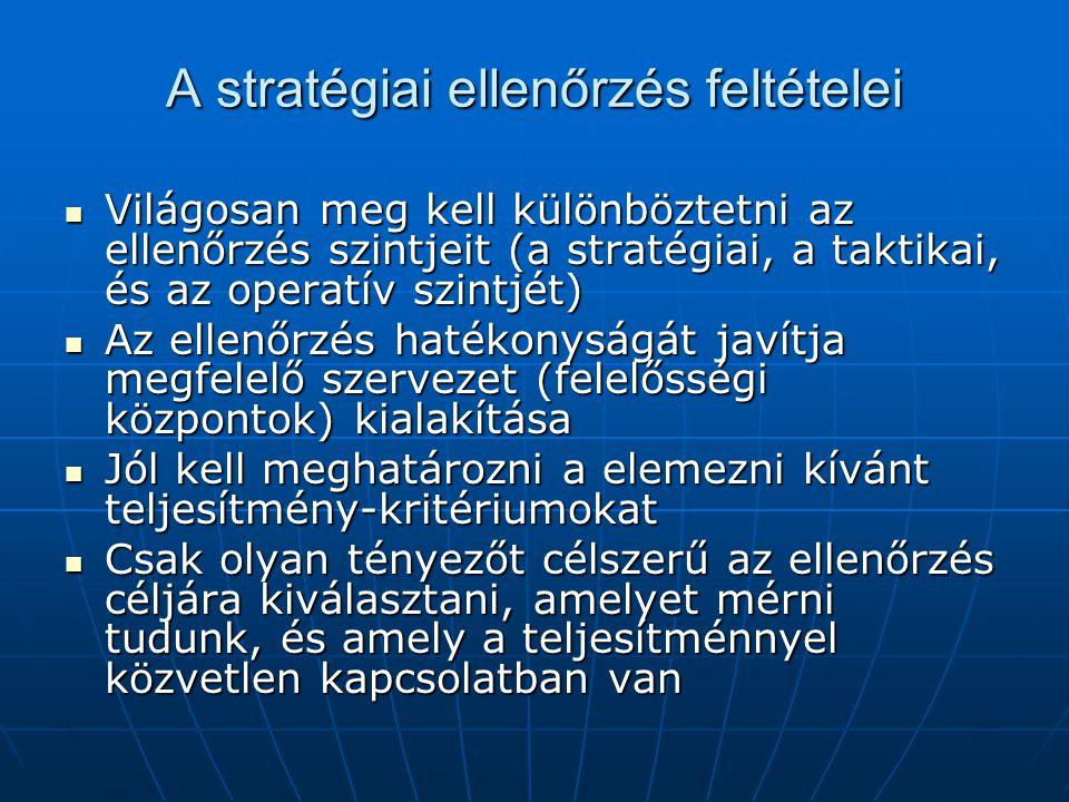 A stratégiai ellenőrzés feltételei  Világosan meg kell különböztetni az ellenőrzés szintjeit (a stratégiai, a taktikai, és az operatív szintjét)  Az