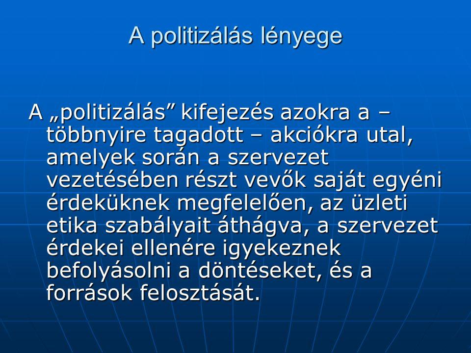 """A politizálás lényege A """"politizálás"""" kifejezés azokra a – többnyire tagadott – akciókra utal, amelyek során a szervezet vezetésében részt vevők saját"""