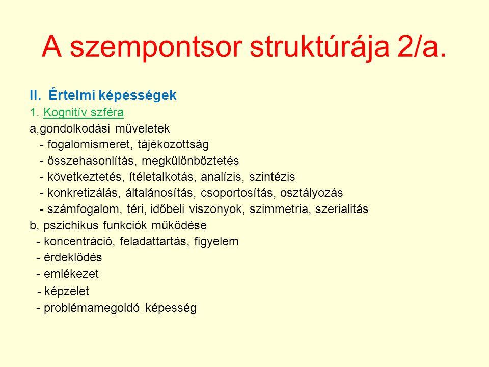 A szempontsor struktúrája 2/a.II. Értelmi képességek 1.