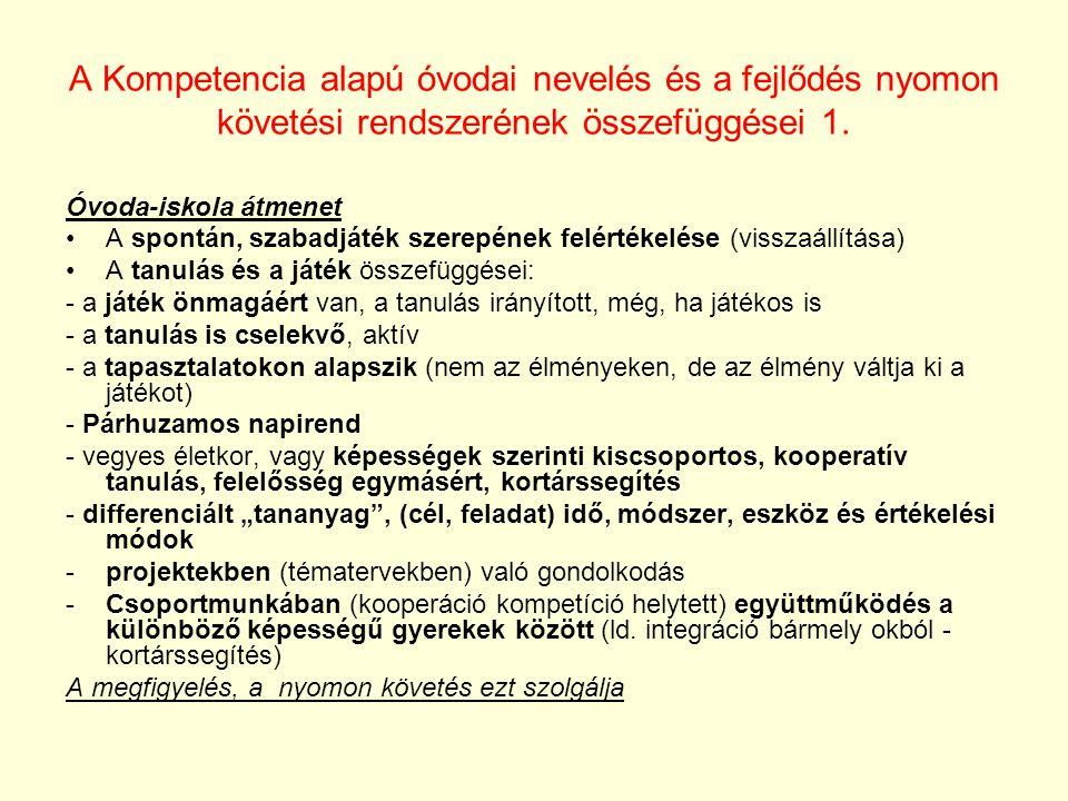 A Kompetencia alapú óvodai nevelés és a fejlődés nyomon követési rendszerének összefüggései 1.