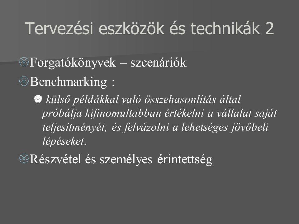 Tervezési eszközök és technikák 2  Forgatókönyvek – szcenáriók  Benchmarking :  külső példákkal való összehasonlítás által próbálja kifinomultabban értékelni a vállalat saját teljesítményét, és felvázolni a lehetséges jövőbeli lépéseket.