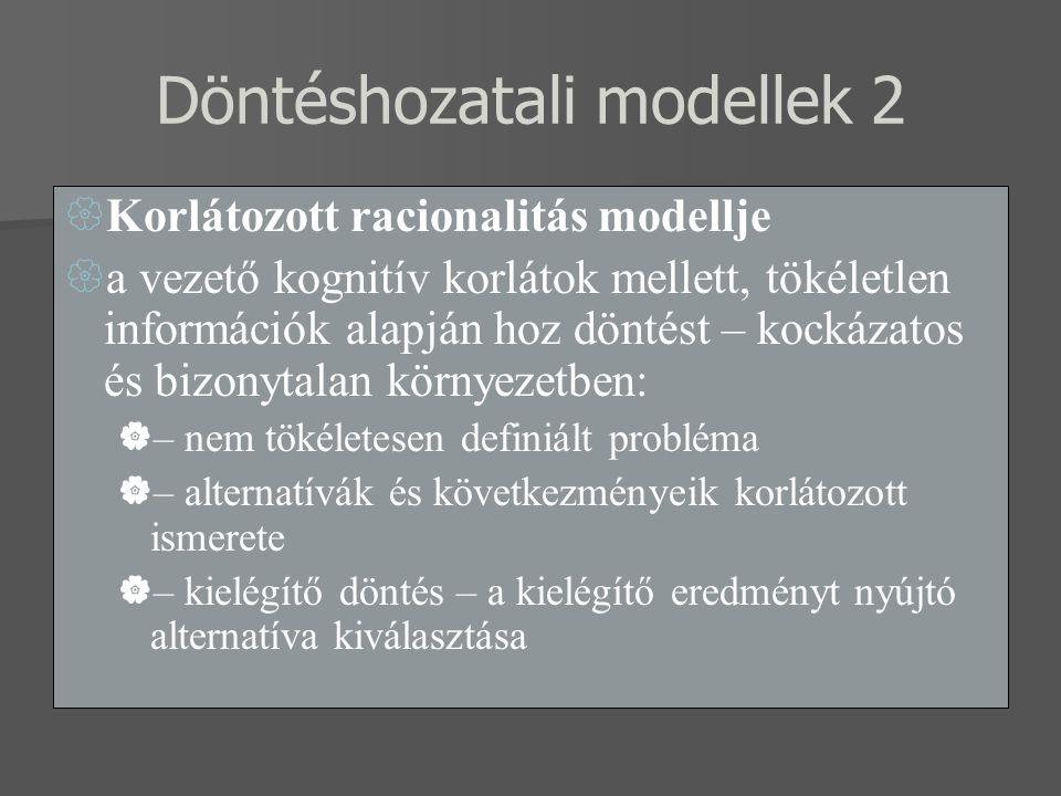 Döntéshozatali modellek 2  Korlátozott racionalitás modellje  a vezető kognitív korlátok mellett, tökéletlen információk alapján hoz döntést – kocká