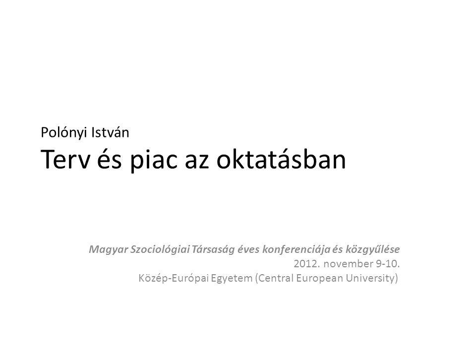 Polónyi István Terv és piac az oktatásban Magyar Szociológiai Társaság éves konferenciája és közgyűlése 2012.