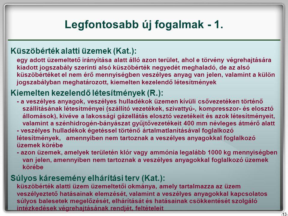 -13- Küszöbérték alatti üzemek (Kat.): egy adott üzemeltető irányítása alatt álló azon terület, ahol e törvény végrehajtására kiadott jogszabály szeri