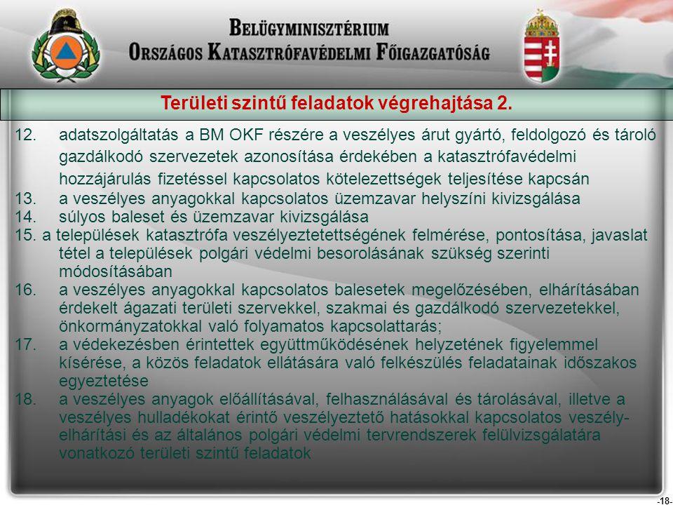 -18- Területi szintű feladatok végrehajtása 2. 12.adatszolgáltatás a BM OKF részére a veszélyes árut gyártó, feldolgozó és tároló gazdálkodó szervezet