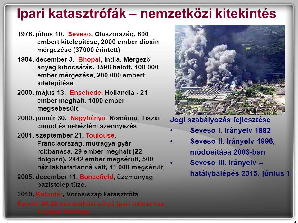 -2- Ipari katasztrófák – nemzetközi kitekintés 1976. július 10. Seveso, Olaszország, 600 embert kitelepítése, 2000 ember dioxin mérgezése (37000 érint