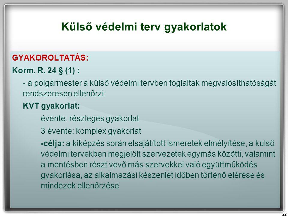 -22- GYAKOROLTATÁS: Korm. R. 24 § (1) : - a polgármester a külső védelmi tervben foglaltak megvalósíthatóságát rendszeresen ellenőrzi: KVT gyakorlat: