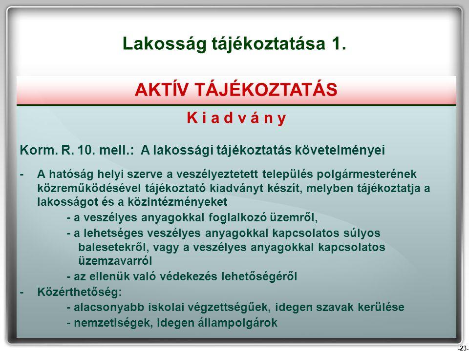 -23- K i a d v á n y Korm. R. 10. mell.: A lakossági tájékoztatás követelményei - A hatóság helyi szerve a veszélyeztetett település polgármesterének