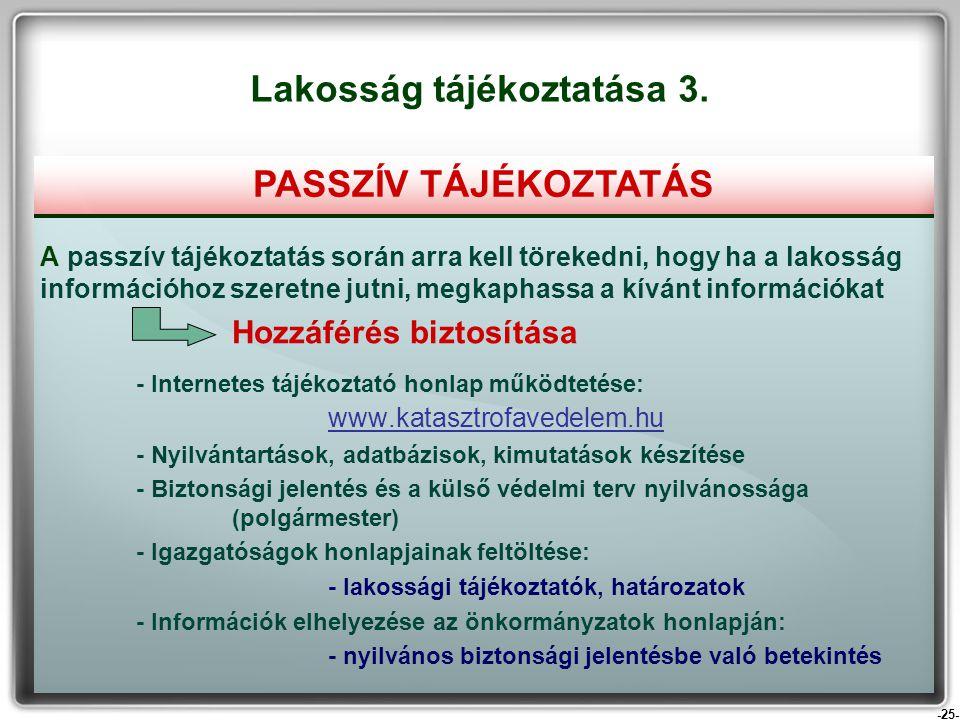 -25- A passzív tájékoztatás során arra kell törekedni, hogy ha a lakosság információhoz szeretne jutni, megkaphassa a kívánt információkat Hozzáférés