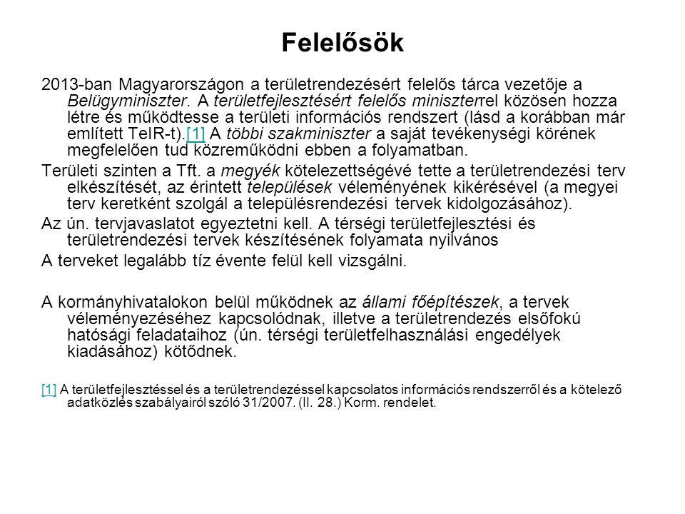 Felelősök 2013-ban Magyarországon a területrendezésért felelős tárca vezetője a Belügyminiszter. A területfejlesztésért felelős miniszterrel közösen h