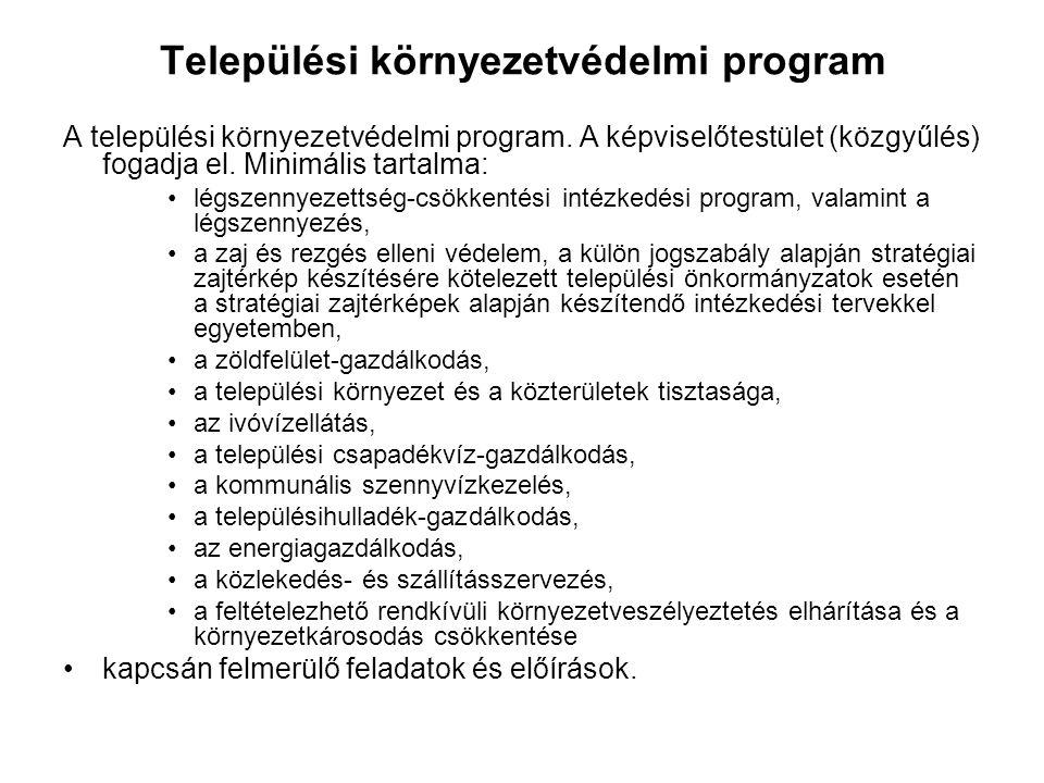 Települési környezetvédelmi program A települési környezetvédelmi program. A képviselőtestület (közgyűlés) fogadja el. Minimális tartalma: •légszennye
