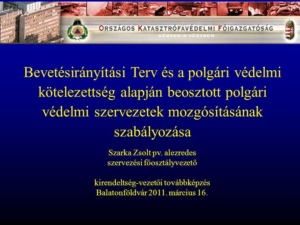 Bevetésirányítási Terv és a polgári védelmi kötelezettség alapján beosztott polgári védelmi szervezetek mozgósításának szabályozása Szarka Zsolt pv. a